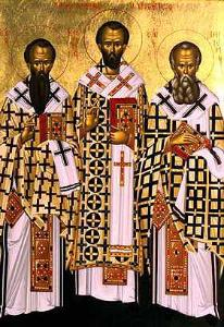 Three Holy Cappadocian Hierarchs:  Basil the Great, John the Golden-mouthed, Gregory the Theologian